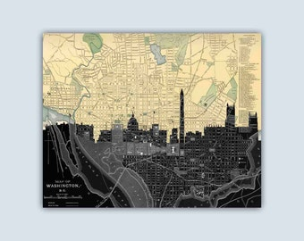 Washington  Skyline, Washington DC Art, Washington Print, Washington Map, Washington Poster, Personalized Skyline Print, Wedding Gift