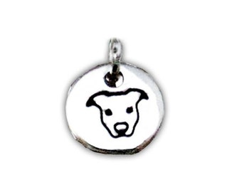 Small Pit Bull Round Charm (S1)