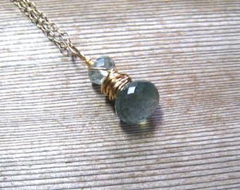 Double Stone Gold Moss Aquamarine Necklace, March Birthstone, Aquamarine Jewelry, Blue Green Gemstone, Dainty Necklace