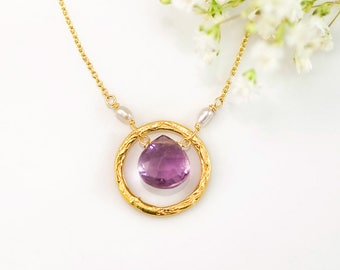 February Birthstone Necklace, Purple Amethyst Pendant Necklace, Birthday Gift for Mom, Christmas Gift for Her, Circle Karma Necklace, Simple