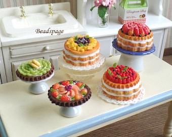 Miniature Fruit Cake/Tart for 1:12 scale Dollhouse Roombox Sylvanian Families, Petite Patisserie Pastry Bakery, DIY Craft Food Jewelry
