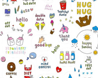 Stickers daily for bullet journal or scrapbooking