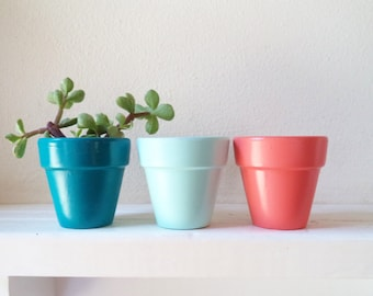 "Mini planters, 2"" succulent pots, wedding favor planters, modern nautical colors"