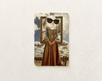 Collage on vintage playing card: bunny rabbit