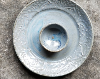 Elegant Dusty Blue Chip and Dip, neutral light blue serving plate, veggie plate, handmade pottery, Made in USA