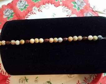 Crazy Lace Agate and Wood Bracelet