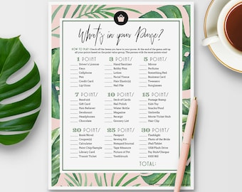 What's In Your Purse Game for Bridal Shower - Tropical Theme - Instant Printable Download