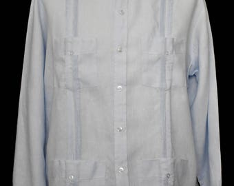 Vintage 90s Men's Guayabera Long Sleeve Linen Shirt , 1990s Blue with Pleats Button Front Shirt, Size Large to X Large