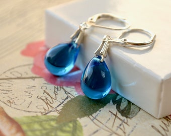 Sky Blue Earrings, Blue Bead Earrings, Blue Dangle Earrings, Capri Blue Teardrop Earrings, Silver Leverback Earrings, Blue Drop Earrings, UK