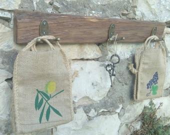 Handmade wall rack rustic country stile,metal hooks