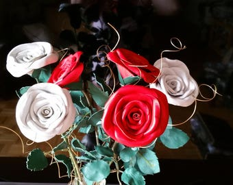 Leather Flower Bouquet, Centerpiece Flower, leather rose bouquet ,Lace leather rose,3rd anniversary gift , Wedding gift ,valentines Day
