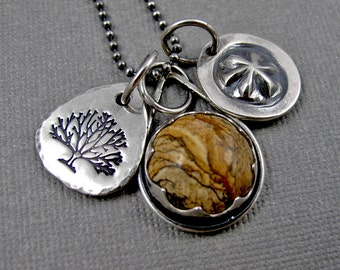 Picture Jasper Story Necklace with Stamped Charms - Sterling Silver Tribal Rustic BohoChic Charm Necklace - Brown Tree