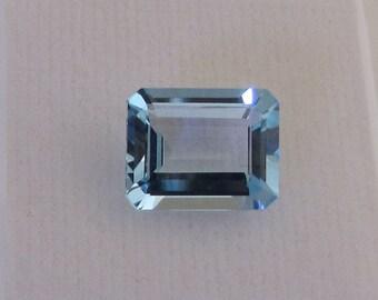 Stone blue rectangular Fine. Semi precious faceted stone. Stone Blue Topaz gemstone. Gift idea. Fine cut blue stone