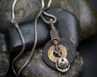 Silver Wire Wrap Necklace with Lava