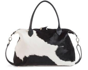 Cowhide Weekend Bag | Cowhide Overnight Bag | Black and White Travel Bag