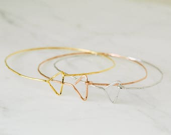 hammered Triangle pyramid wire blank bangle Bracelet-JO jewlery making craft supplies for women girls teens