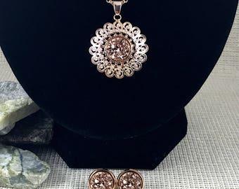 Rose Gold Druzy Jewelry Set - Bridesmaid Gift - Necklace and Earring Set - Rose Gold - Rose Gold Jewelry - Druzy - Drusy - Wedding Jewelry -