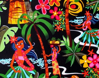 Fabric, Leis, Luaus and Aloha Black, Hawaiian Hula Girls Fabric, Alexander Henry, By the Yard