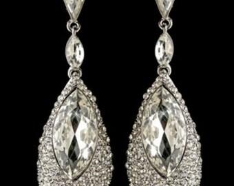 Large Teardrop Rhinestone Earrings