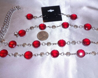 Red Matching Necklace, Bracelet, and Earrings