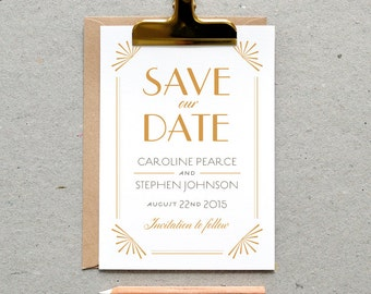 Printable Wedding Save the Date PDF / 'Glamourous Gatsby' Art Deco 1920 Card / Honey Gold Grey / Digital File Only / Printing Also Available