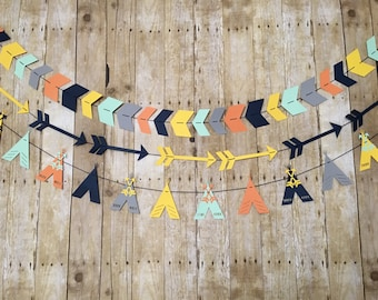 Set of 3 Tribal Banners - Tribal Garlands-Tribal Baby Shower- Tribal Party Decorations- Arrow Banner- TeePee Banner- Tribal Nursery