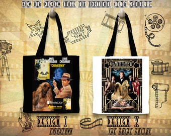 Afghan Hound Tote Bag/Afghan Hound Portrait/Afghan Hound Art/Personalized Dog/Custom Dog Portrait/Movie Poster/The Great Gatsby/Chinatown