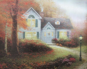 Two Thomas Kinkade Original Book Page Prints - Amber Afternoon and Blessings of Autumn