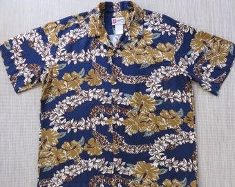 Mens Hawaiian Shirt HILO HATTIE Lei Aloha Shirt Tiki-licious Tropical Print Hawaii Shirt Vintage Inspired Camp - XL - Oahu Lew's Shirt Shack