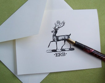 Deer, Stag ,Elk Personalized Monogrammed Note Cards Stationery Old World Heraldic Woodland Forest Vintage Inspired Black Ivory Set 10