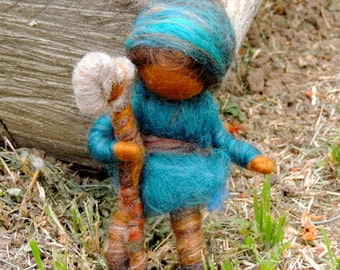 Wee Forest Boy with his Axe -  Gnome - Needle felted soft sculpture - Elsa Beskow and Waldorf Inspired by Rebecca Varon made as requested