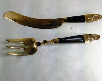 Vintage Set Of Fork And Fish Fillet Knife/Brass With Wood Inlet On Handles/Siam Under The Picture On The Knife And S Thailand On The Fork