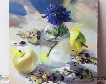 Blue flower oil painting original art Floral painting Apples Unique artwork Still life painting Anniversary gift For her, Small painting 6x6