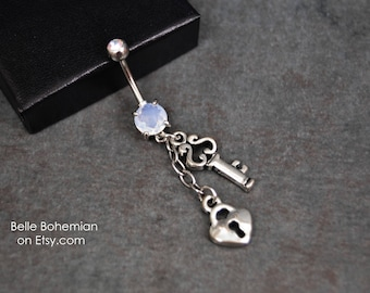 Belly Button Ring - Dangle Belly Button Ring - Heart - Lock - Key -  Belly Button Ring - White Opal Belly Button Ring -  14G Surgical Steel