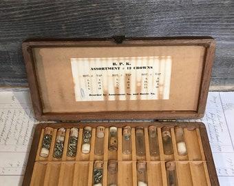 Vintage Wooden WATCH VIAL Box- Crown Assortment No. 12 - Watch Repair Clock Parts- Corked Vials- Glass Vials- G34
