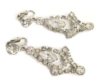 Vintage Diamond Dangle Clip On Earrings