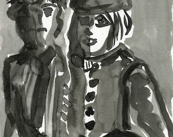 TAXI, Indian ink  ooak  original couple waiting