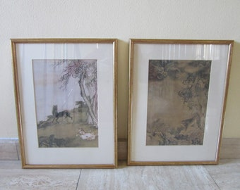 2 framed animal prints (Asian origin ?)  - vintage - England