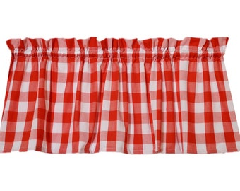 """Red / White 1"""" check window curtain valance. Vintage look kitchen bathroom. If you're into retro this is the valance for you! LINING option"""