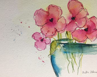 Original watercolor watercolor painting flowers flowers Watercolor Floral Art