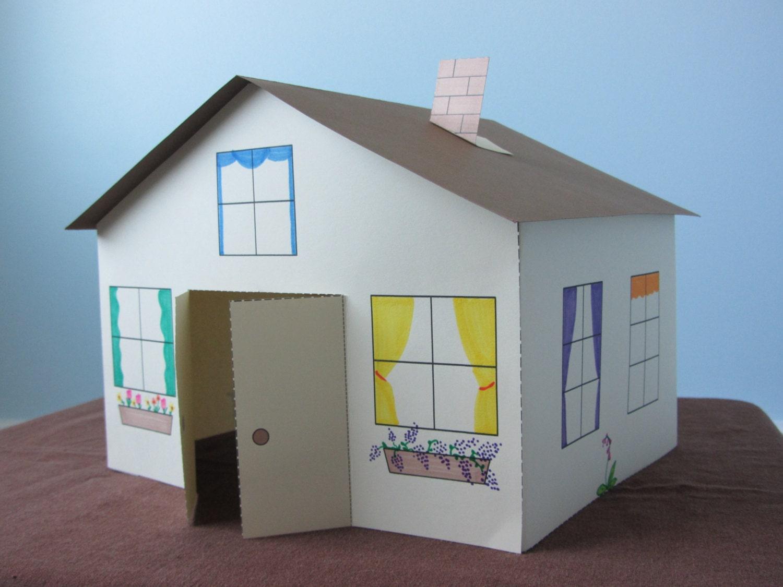 3d paper house craft for kids instant download template. Black Bedroom Furniture Sets. Home Design Ideas