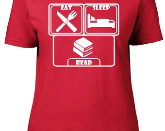 Eat. Sleep. Read. Ladies semi-fitted t-shirt.