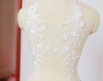 Lace Wedding Dress Applique/Ivory Lace Applique Pair/Boho Wedding Dress/Flower Applique/Bridal Applique pair/Prom Dress/Boho Dress/ALA-09