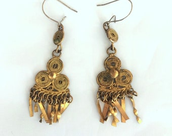 vintage gold TRIBAL dangling GYPSY EARRINGS costume jewelry boho festival hippie afghan Coachella