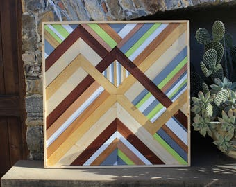 WOOD WALL ART, Mosaic 60x60 Home Decor