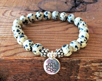 A+ Dalmatian Jasper Bracelet, Yoga Wrist Mala Beads, Solar Plexus Chakra Jewelry, Healing Crystals, Happiness + Positivity + Good Luck