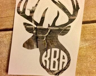 Camo decal / deer hunting decal / Monogram deer decal / Monogram deer sticker / yeti cup deer decal / Yeti cup decal / deer car monogram