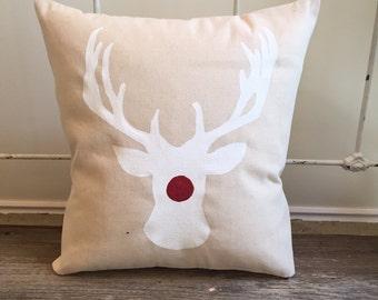 Pillow Cover | Rudolph Pillow | Reindeer Pillow | Christmas decor | Christmas pillow | Christmas Gift | Holiday Pillow | Rudolph |