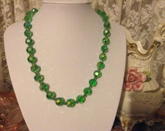 Vintage green crystal aurora borealis  necklace