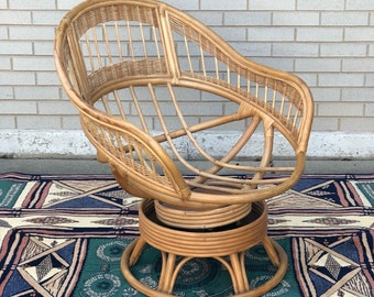 Rattan swivel and rocking chair